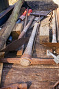 Digging tools a collection of on a plywood truck bed Royalty Free Stock Photos