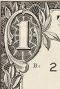 Digit one from dollar banknote close up whole background Stock Images