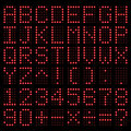 Digital alphabet and number red electronic led vector Royalty Free Stock Photo