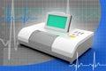Digital blood pressure gauge in color background Stock Image