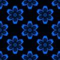 Digital blue flowers simple seamless pattern on black