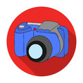 Digital camera icon in flat style isolated on white background. Family holiday symbol stock vector illustration.
