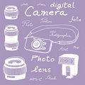 Digital camera set in sketch style Stock Photo