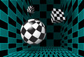 Digital checkered room with 3D figures Royalty Free Stock Photography