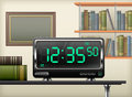 Digital clock interior on desk books shelves vector illustration Royalty Free Stock Photo