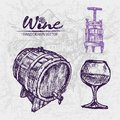 Digital color  detailed line art wine press Royalty Free Stock Photo