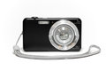 Digital compact camera with strap like the concept of a passion for photography Stock Photo