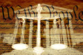 Digital composite: Supreme Court Building, the Scales of Justice and the U.S. Constitution Royalty Free Stock Photo