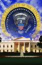Digital composite: The White House and Seal of the President Royalty Free Stock Photo