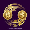 Digital Currency Money Exchange Vector. Bitcoin, Dollar. Fintech Blockchain. Gold Coins With Digital Stream