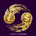 Digital Currency Money Exchange Vector. Litecoin, Dollar. Fintech Blockchain. Gold Coins With Digital Stream