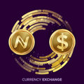 Digital Currency Money Exchange Vector. Namecoin, Dollar. Fintech Blockchain. Gold Coins With Digital Stream