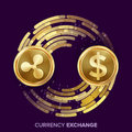 Digital Currency Money Exchange Vector. Ripple Coin, Dollar. Fintech Blockchain. Gold Coins With Digital Stream