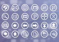 Digital Data Icons with Binary Background Royalty Free Stock Photo