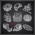 Digital drawing bakery icon set on black background vector illustration Stock Photography