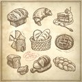 Digital drawing bakery icon set on grunge paper background Stock Images