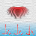 Digital heart abstract d vector background with pulse graphics created from cubes vector eps three layers of a network cardiogram Royalty Free Stock Images
