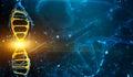 Digital illustration DNA structure in blue background