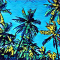 Digital illustration - The palm trees on blue background, graffiti style drawing of tropical summer Royalty Free Stock Photo