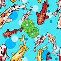 Digital illustration of seamless pattern with cartoony koi carps and lotus leaves ander water top view Royalty Free Stock Photo
