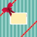 Digital Illustration of a Striped Gift Wrap Paper Plus a Red Ribbon and a Tag Royalty Free Stock Photo