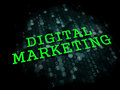 Digital marketing business concept the word in light green color on dark background Stock Photos