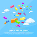 Digital marketing email laptop envelope send business mail flat vector illustration Royalty Free Stock Photography