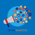Digital marketing illustration with megaphone. Flat design