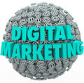 Digital marketing online internet campaign web outreach at symbo the words on a ball or sphere of or email symbols and signs to Royalty Free Stock Photography
