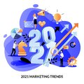 Digital marketing trends, strategy, business plan for 2021 year. Expectation, perspective concept. Vector illustration Royalty Free Stock Photo