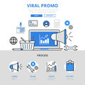 Digital marketing viral promo promotion concept flat line art vector icons