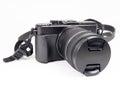 Digital mirrorless camera with zoom lense Royalty Free Stock Photo