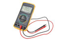 Digital multimeter black color isolated on white background Stock Images
