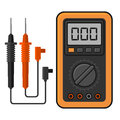 Digital multimeter. Electrical Measuring Instrument Voltage Amperage Ohmmeter and Power. Vector Royalty Free Stock Photo