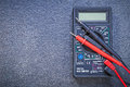 Digital multimeter electrical tester on black background electri Royalty Free Stock Photo