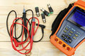 Digital multimeter with probes and BNC connectors Royalty Free Stock Photo