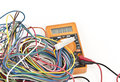 Digital multimeter with wires Stock Photography