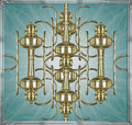 Digital ornament symbol photo manipulation artwork in yellow and cyan tones with bronze borders Royalty Free Stock Photos