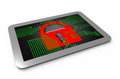Digital padlock with circuit board security on a computer tablet Stock Images
