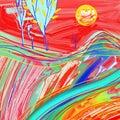 Digital painting of red sunset landscape creative artwork inspiration modern impressionism vector illustration Stock Images