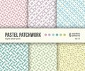 Digital paper pack, 6 abstract patterns, pastel patchwork textures, pale pastel colors Royalty Free Stock Photo