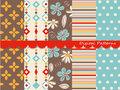 Digital patterns scrapbook set textures Royalty Free Stock Images