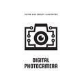 Digital photo camera - concept logo template vector illustration. Photography creative icon sign. Modern photostudio graphic.