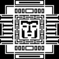 Digital pixel cyber avatar icon. Computer technology, security, hacking. Black and white face person. Vector Royalty Free Stock Photo