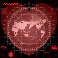 Digital red radar screen of heart shape with world map, targets and futuristic user interface on black background