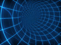 Digital round tunnel abstract with blue grid lines Stock Photography