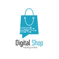Digital shop logo design template