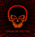 Digital skull virus on black background Royalty Free Stock Photo