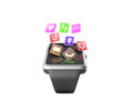 digital smart watch or clock with icons 3d render on white no sh