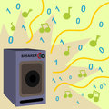 Digital sound a cartoon illustration of a speaker with notes ones and zeros coming out Royalty Free Stock Images